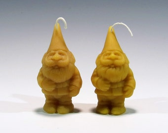 Beeswax Candle Gnome / Elf Candles, Garden Gnome Candle, Garden Elf Candle, Santa Candle