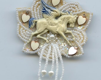 Retro Style Vintage Pegasus Theme Brooch Made With Vintage Leather and Bead Brooch