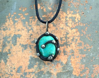 Alchemic Ocean Wave mixed metal pendant necklace turquoise howlite stone