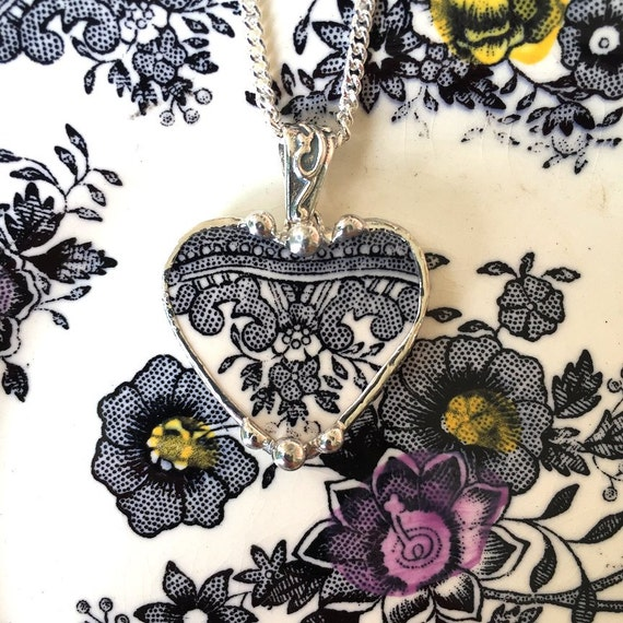 Broken china jewelry heart shaped necklace pendant Victorian black white toile English transferware