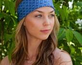 Blue Silk Headband, Silk Head Wrap, Blue Headpiece, Summer Headband, Bohemian Headband, Boho Headband