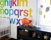 Removable Rainbow Alphabets - Bold, Modern and Minimalist Wall Decal Wall Sticker wallpaper- suitable for baby, kids room, nursery