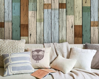 Vintage Scrab Wood Texture Wallpaper ,Peel and Stick , Wall Decal, Wall Sticker