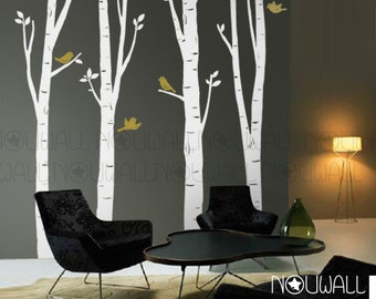 Birch Tree Wall Decal, bird wall decal, office Wall decal ,Wall Sticker Art , home decor, wall decor - 10 FREE BIRDS -075