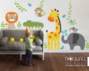 Reusable Fabric wall decal ,Baby Wall Decal - Jungle animals wall decal on vines wall sticker - wall decor