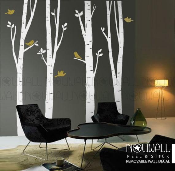 Birch Tree Wall Decal, bird wall decal, office Wall decal ,Wall Sticker Art , home decor, wall decor - 10 FREE BIRDS -075