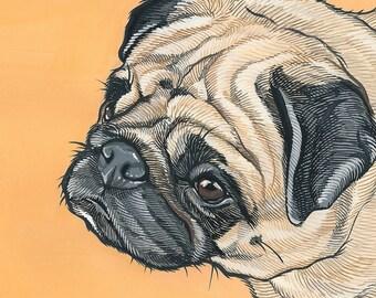 Custom Pet Portrait - 8x8 inch pet Illustration  -Gift for Dad - Gift for Mom - Pet Painting- Dog Art -  Illustration - Custom gift