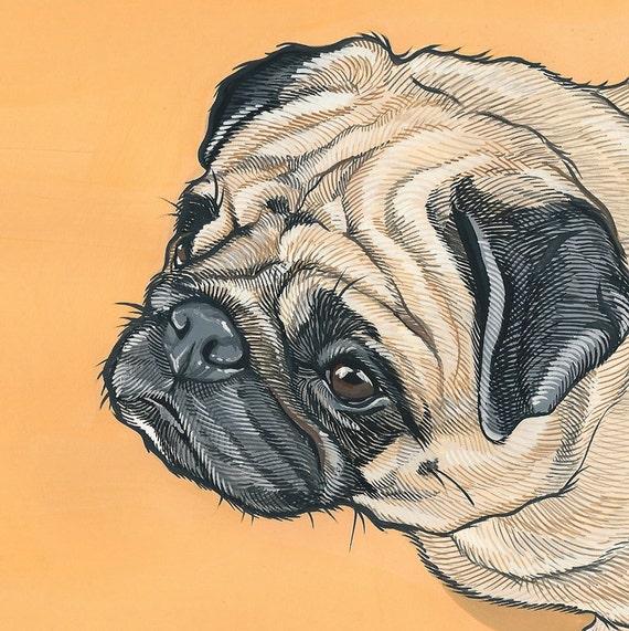 Custom Pet Portrait - 8x8 inch Painted Portrait - Custom Pet Portrait - Pug Portrait -PugPainting - Custom Pet Painting- Dog Art