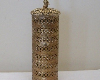 Vintage Gold Filigree Hairspray Cover with Cherub