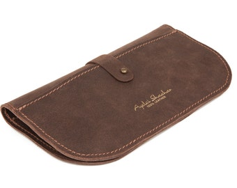 Unique Gifts for Women / Brown Leather Purse Wallet Clutch / Wallet For Her / Hand Made wallet by Ayelet Shachar