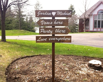 Wedding Signs Directional Wood Personalized Sign Outdoor