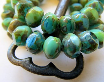 BACK IN STOCK Beach Quadries #3 . Czech Faceted & Polished Picasso Beads (10 beads) 6 by 8 mm