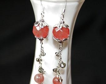Pink quartz, Swarovski crystal, and silver chain long drop earrings
