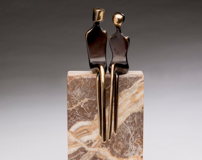 Elegant Couple, State of the Art 3D Designed Bronze Sculpture, hybrid artist designed, solid figure, traditionally cast bronze