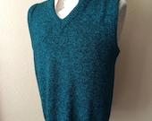 Vintage Men's 80's Le Tigre, Sweater Vest, Turquoise, Black, Acrylic (L)