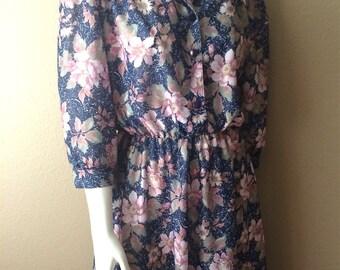 Vintage Women's 80's Floral Dress, Navy Blue, Knee Length by Ca. Looks (L)