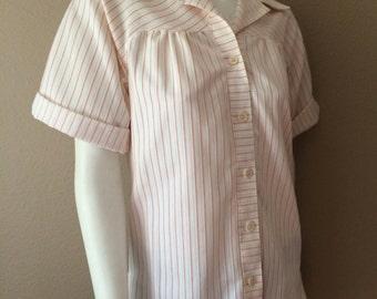 Vintage Women's 60's Blouse, White, Red, Striped, Short Sleeve by Jantzen (M)