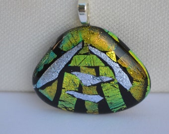 Fused Glass Dichroic Necklace in Blue, Silver and Striped Dichroic on Black, Necklace, Mosaic Style Pendant, Jewelry, Pendant, Glass, Fused