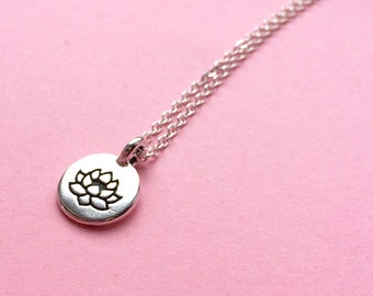 Silver lotus flower pendant necklace - 925 sterling silver chain- nature plant jewelry - spring gift idea - UK seller