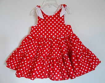 Red Polka Dot Twirly Sundress Square Dance Dress Minnie Mouse Inspired Dress, Baby, Infant, Toddlers and Girls Sizes.