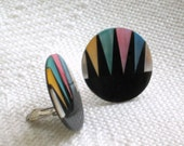 Sea Shell Clip Earrings Black Resin Mother of Pearl Vintage 80s Costume Jewelry