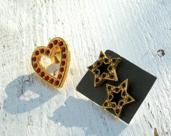 Vintage Rhinestone Hat Lapel Pin and Stud Earrings Signed Avon Jewelry