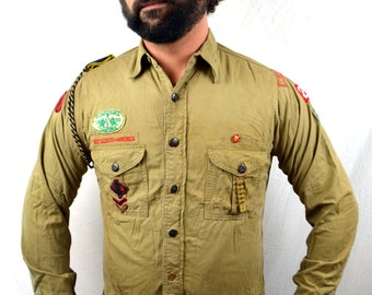 Vintage 1930s 30s Boys Scouts of America Uniform Shirt Button Up - with Patches and Pins