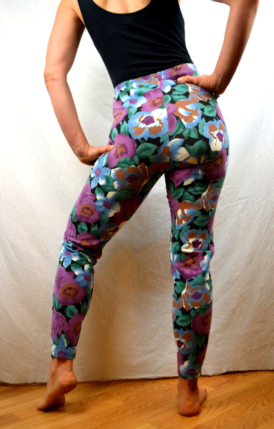 Vintage 80s Floral Spandex Pants Leggings by RogueRetro on Etsy