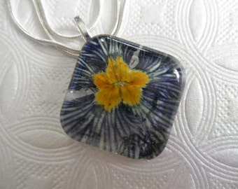 Zebra Primrose-Purple-White Striped Bloom Pressed Flower Square Glass Pendant-February Birth Flower-Symbolizes First Love-Gifts Under 30