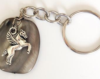 Gray Flying Horse Keychain, Pegasus Keychain, Greek Mythology Keyring, Grey Shell and Metal Split Ring Keychain