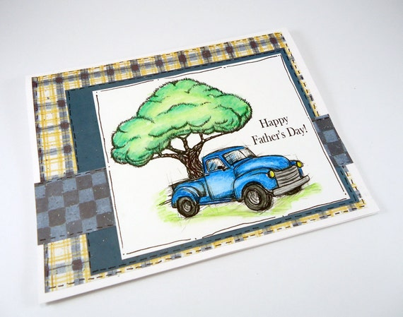 fathers day card, old blue pickup truck, happy fathers day