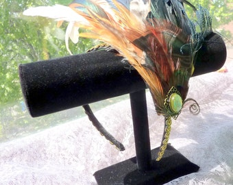 Tribal Peacock Flapper Feather Headband With Olive Opal Resin Stone OOAK Costume Great Gatsby