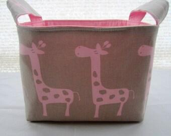 Fabric Organizer Basket Storage Bin Container - Maple and Pink Giraffes