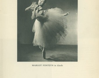 Sale 20% off 1950 Margot Fonteyn as Giselle, Vintage Black and White Print 85 from Photograph by Baron (Sterling Henry Nahum)