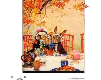 Alice in Wonderland, Vintage Print 1922 - Mad Hatter, March Hare, Children, Gwynedd Hudson, Kids Nursery Decor, Fairy Tale Art