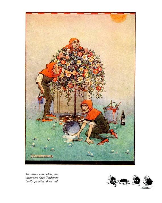 Alice in Wonderland Art Print, Roses blanches de peinture rouge, jardiniers, enfants, Gwynedd Hudson Kids ppinire Decor, Art de conte de fes