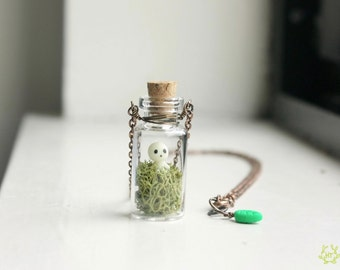 Kodama Tree Spirit Terrarium Necklace - mini glass bottle pendant, glow in the dark princess mononoke necklace, studio ghibli jewelry