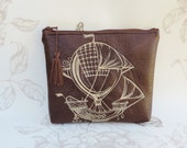 Steampunk faux leather pouch airship brown