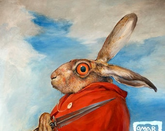 The March Hare (print) Ides of March, Crazy Rabbit, Bunny Eyes, Artwork