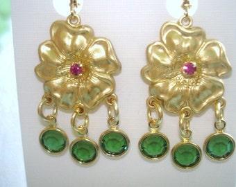 Flower  Green Crystal Stone Gold tone Earrings
