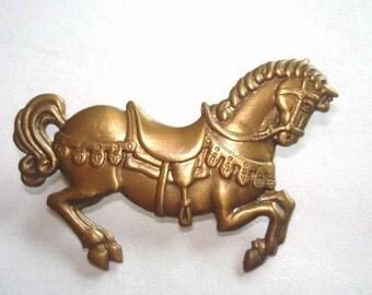 Horse Brooch Gold Tone Repouss'e