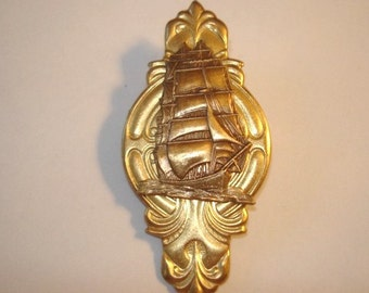 Sailing Ship Brooch Gold Tone