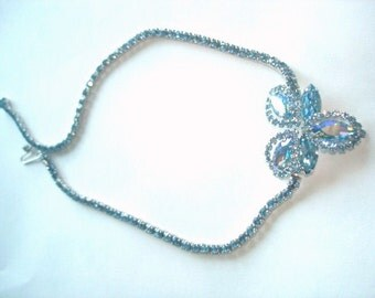 Signed Weiss AB Blue  Rhinestone Bow Necklace