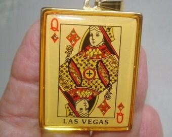 Queen of Diamonds Las Vegas Gold Tone with Rhinestones Pendant