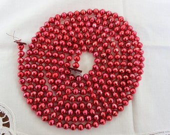 """Mercury Glass Garland Beads Christmas  OLD  Red 107"""" VINTAGE by Plantdreaming"""