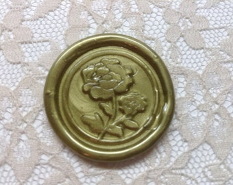 Beauty and the Beast Rose/Peony Peel  and Stick Flexible Wax Seals, 1.2 Inches in Size with One Inch Adhesive