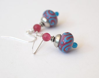 Pink Scroll Earrings, Lampwork Glass Earrings, Glass Bead Earrings, Blue Earrings
