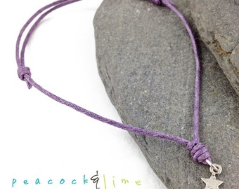 Star Wish bracelet // lilac lavender purple waxed cotton // sterling silver charm wish friendship bracelet // handmade // ready to ship