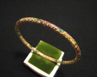 Antique Creamy Yellow and Red White Cloisonne Enameled Hibiscus Flower Bangle Bracelet