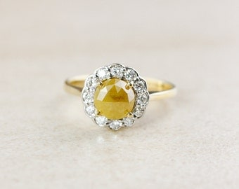 Flower Halo Diamond Ring - Vintage Inspired Engagement Ring - Rose Cut Yellow Diamond
